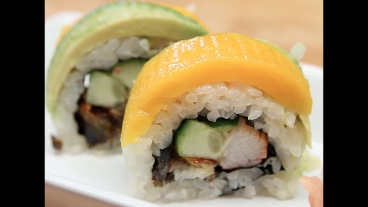 How to Make Sushi - Avocado Mango Rolls - YouTube