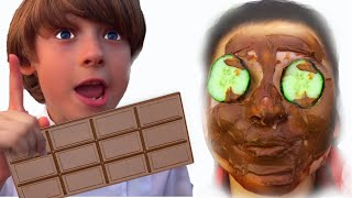 Five Kids masks Chocolate Face | Pretend Play Beauty Salon