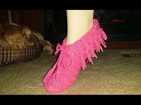 For Beginners ~ Glama\'s Super Easy Moccasin Slippers - YouTube