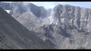 Time-lapse images of Mount St. Helens dome growth 2004-2008