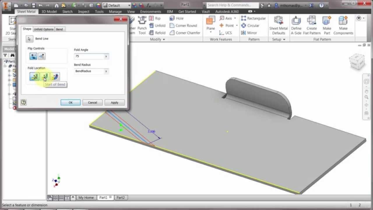 Inventor Sheet Metal Folds Youtube
