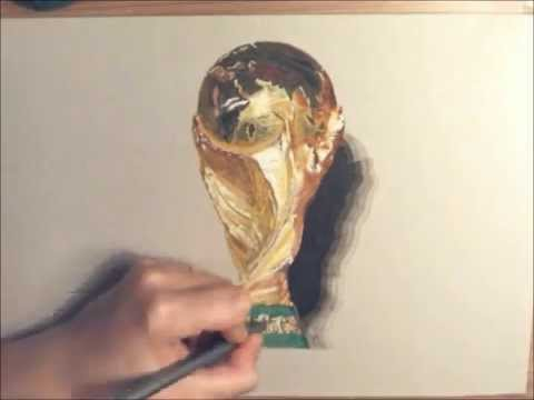 Fifa World Cup Trophy Drawing Time Lapse Video Youtube