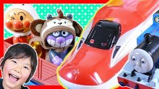 アンパンマンおもちゃ とプラレール スーパーこまち トーマス カーズ PeppaPig 恐竜♪ Anpanman Tomica Plarail PeppaPig Dinosaur ToysReview