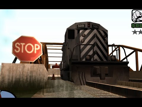GTA San Andreas - How To Drive A Train Thru A Bridge Barrier - NO CHEATS, NO MODS, NO GLITCHES