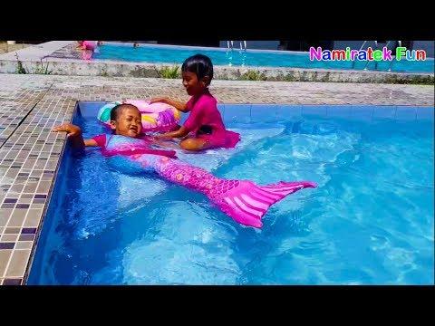 Kids Mermaids Like to Learn Swimming mermaid style Fin Fun - Fun Kids Learn Swimming Underwater