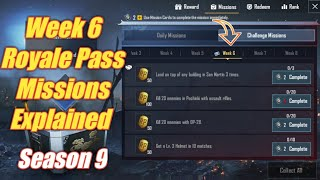 Season 9 Week 6 Royale Pass Missions Explained PUBG Mobile | week 6 rp missions pubg Season 9