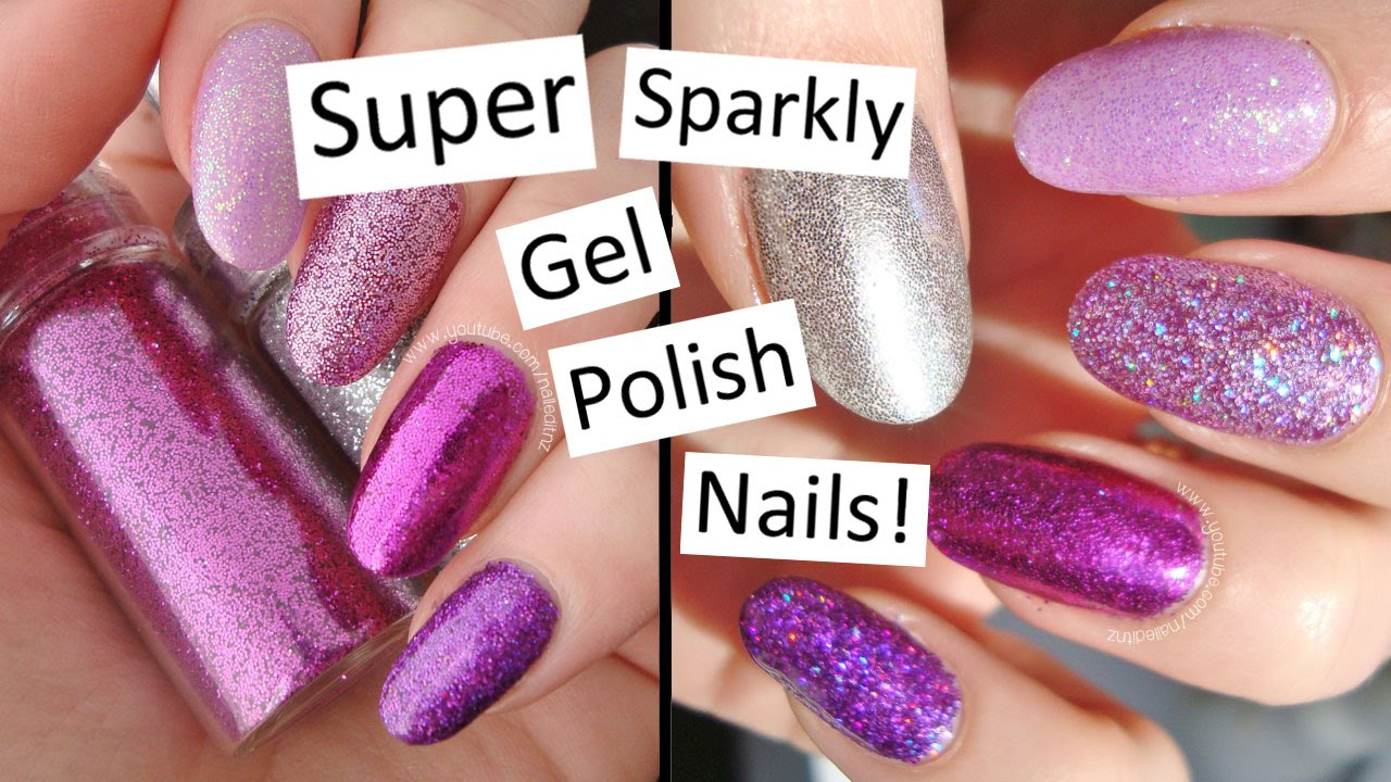how to press glitter into gel polish | super sparkly nails! - youtube