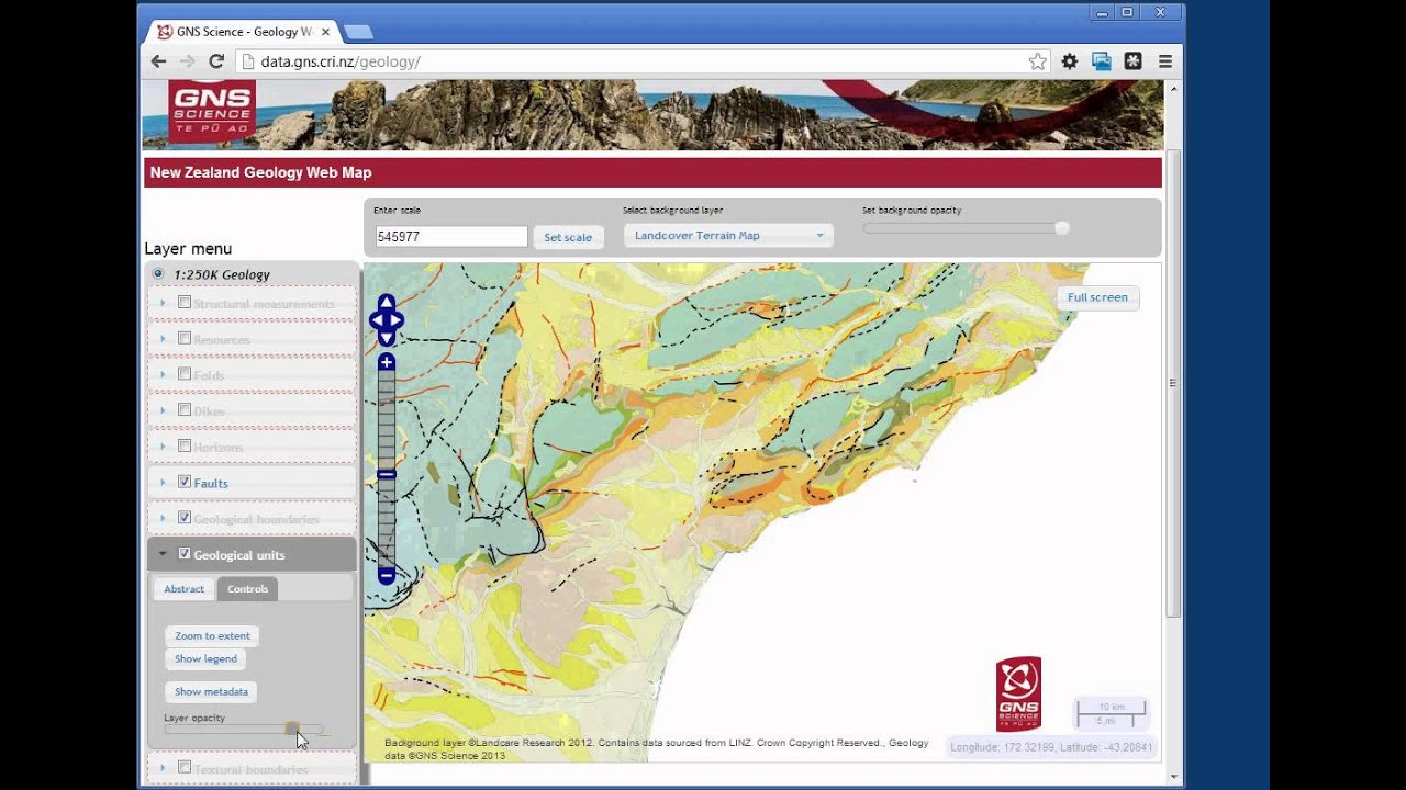 NZ Geology Web Map Httpdatagnscrinzgeology How To Use - Latitude of nz