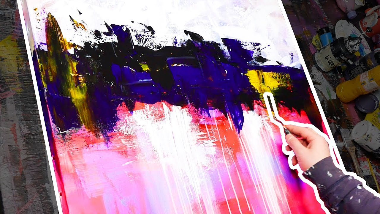 How To Paint An Abstract Painting Acrylic Demonstration Intertiatic