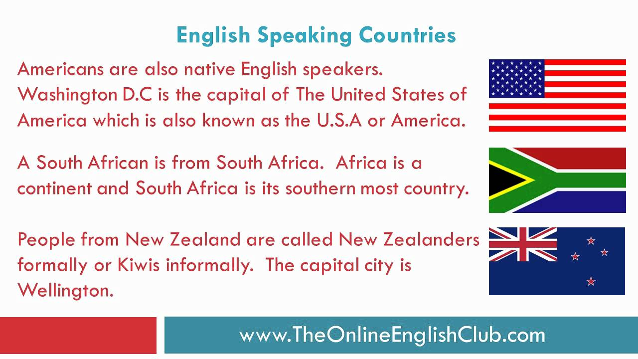English Speaking Countries - Countries and nationalities - YouTube