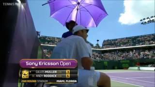 Andy Roddick Vs Gilles Muller Miami 2012 2R Highlights