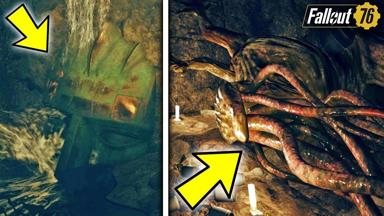 Fallout 76   SECRET TENTACLE MONSTER FOUND! Hidden Location, Secret Loot, &  Creepy Lore