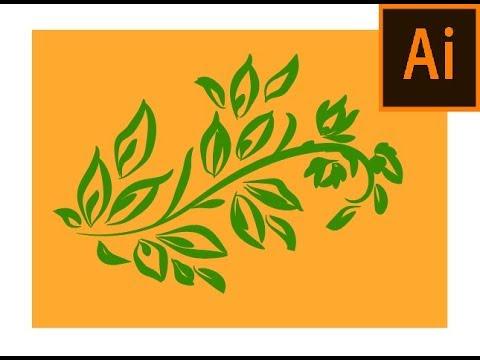 Simple and easy Leaf design using Adobe Illustrator | Beginner tutorial | Art brush thumbnail