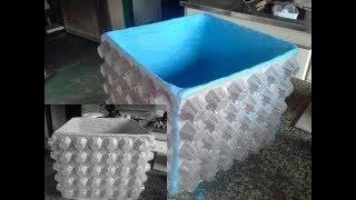 Como Fazer Vaso de Cimento e Areia, Reciclando Bandejas de Ovos