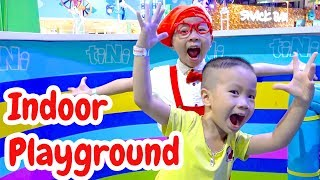 Indoor Playground for kids & The wheels on the bus Nursery rhymes song for kids w/ Ben and Anto