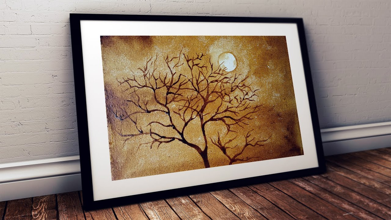 Coffee Painting For Beginners Painting Moon Through The Branches With Coffee Tutorial Step By Step Youtube