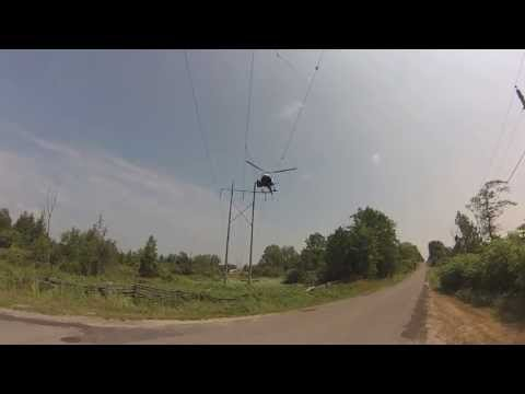 helicopter rescue man from telephone pole - hydro one