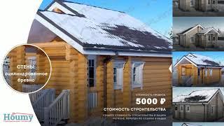 Проекты домов бревно 6 на 6. Проект бревенчатого дома с небольшой террасой.