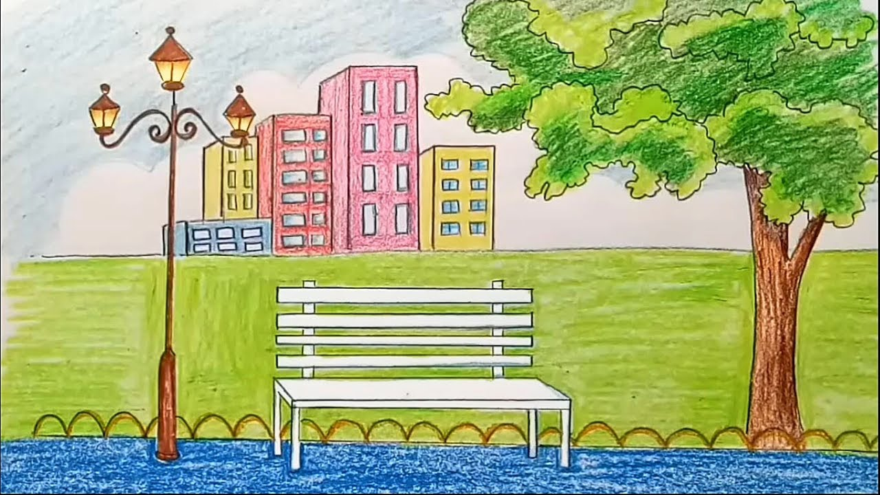 How To Draw Scenery Of City Park Step By Step Youtube