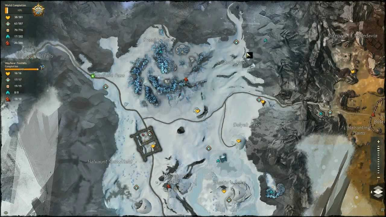 Wayfarer Foothills Map Guild Wars 2 Wayfarer Foothills Completed Map   YouTube