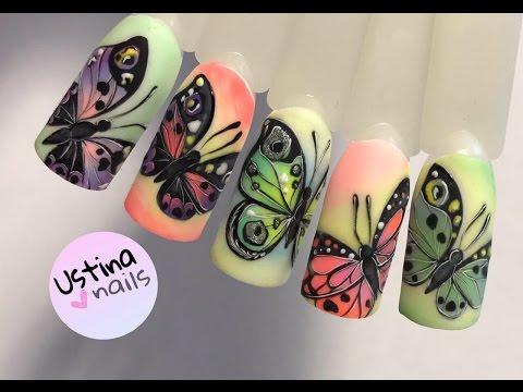 Дизайн ногтей. Рисуем бабочку