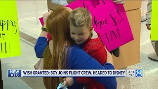 Wish granted: boy joins flight crew, headed to Disney