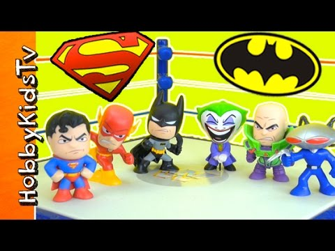 Superhero Wrestling Match! Batman + Superman Royal Rumble Fun HobbyKidsTV