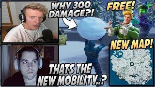 Streamers React To New CHRISTMAS MAP, FREE Skins & New SNOWBALL That Does 300 DAMAGE!