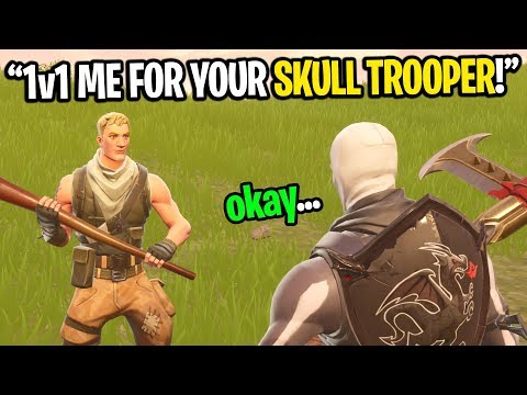 This kid wants to 1v1 me on Fortnite for my SKULL TROOPER account... (I ACCEPTED!)