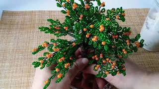 Дерево из бисера 1/3 .Мандарин из бисера и бусин. Оформление.