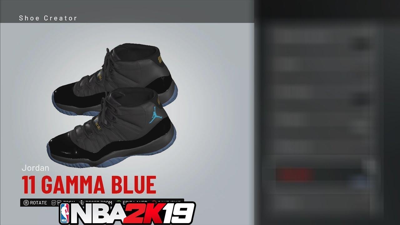 Nba 2k19 Shoe Creator Quot Jordan 11 Quot Gamma Blue 🔌🔥👟 Youtube
