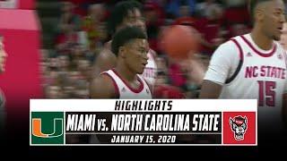 Miami (FL) vs. North Carolina State Basketball Highlights (2019-20) | Stadium