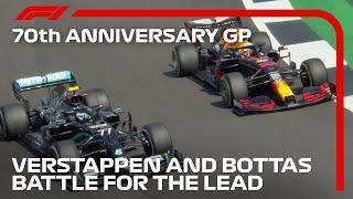 Max Verstappen's Brilliant Overtake On Bottas To Reclaim Lead   70th Anniversary Grand Prix