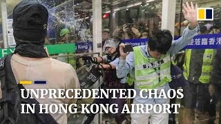Unprecedented chaos in Hong Kong airport