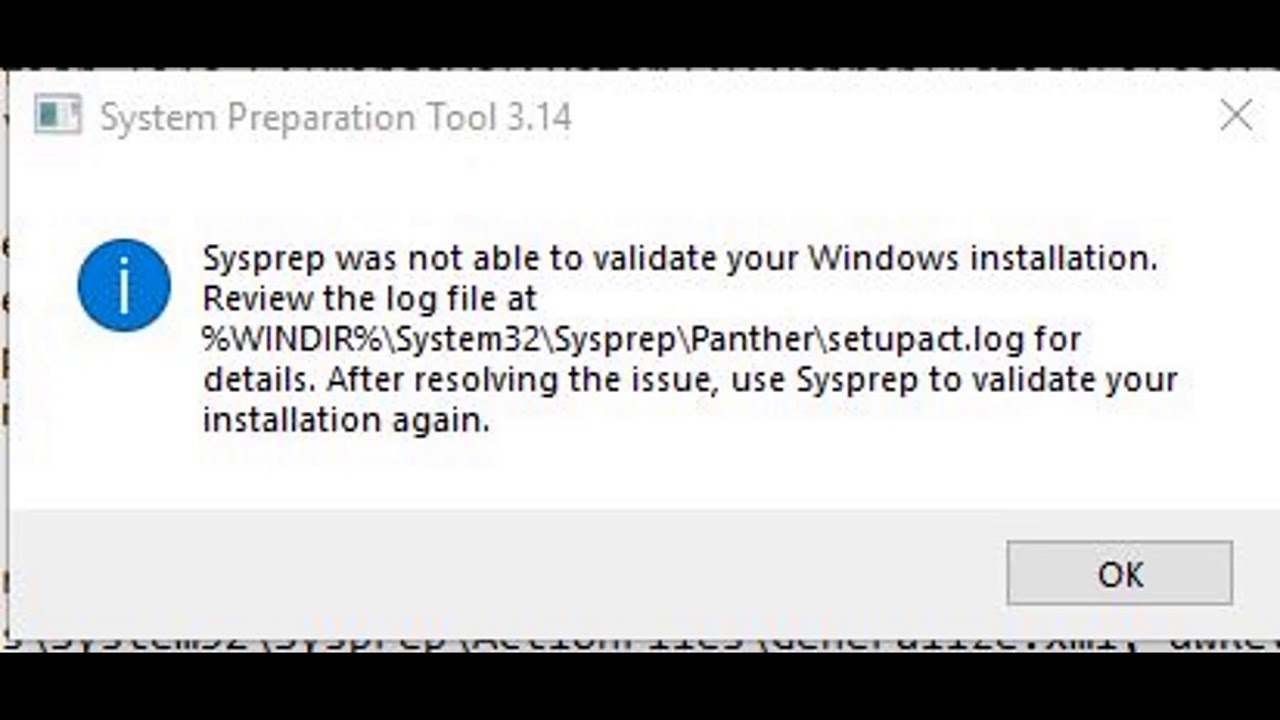 Error: Sysprep was not able to validate your Windows Installation Windows  10 1709