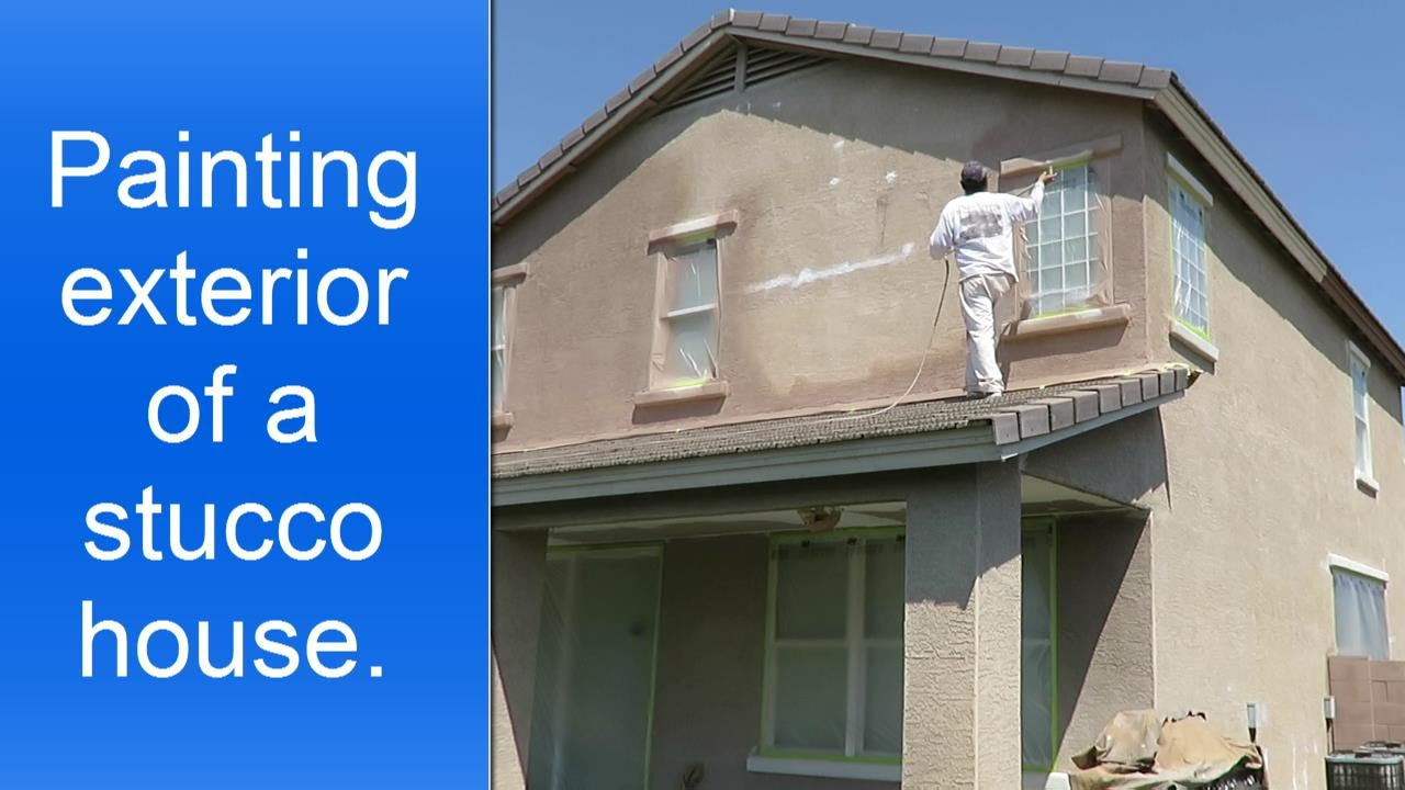Painting exterior of two story stucco house youtube How to plaster a house exterior