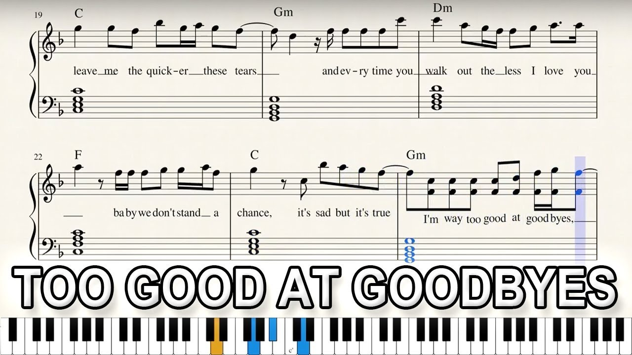 too good at goodbyes free sheet music
