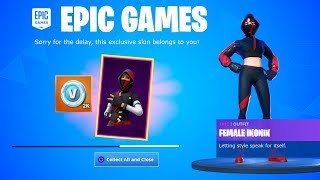 Fortnite Sent EVERYONE FREE ITEMS! * Iconic FEMALE *