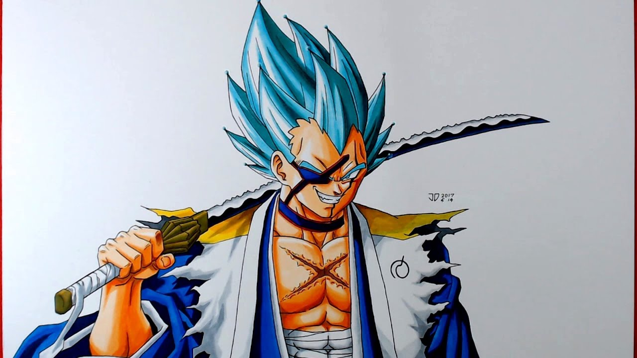 Fusion Drawing KENPACHI VEGETASSJ BLUE Bleach Dragon Ball Super