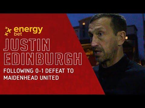 REACTION: Head Coach Justin Edinburgh following the 0-1 defeat to Maidenhead United