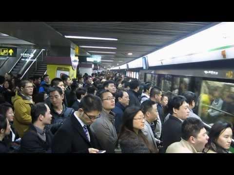 Crowded Shanghai metro at peak hour