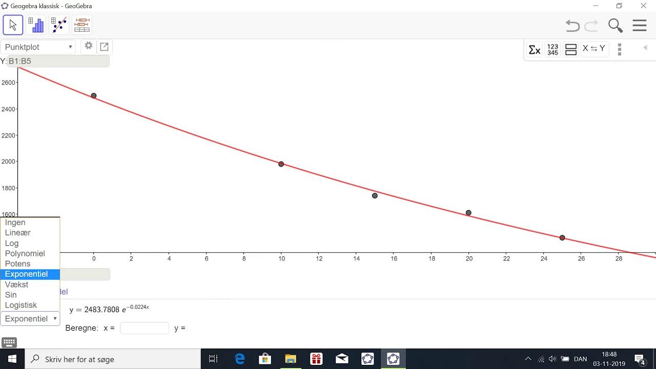 Eksponentiel regression i Geogebra