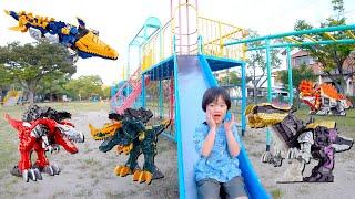 ママにリュウソウジャーのおもちゃ隠された!公園に隠された恐竜は何個あるかな?寸劇 お出かけ かくれんぼ 仮面ライダーゼロワン ロボットチャンネル for kids