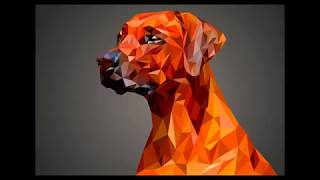 Low poly dog in illustrator.