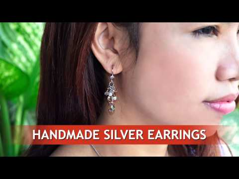 Handmade silver earrings with swarovski crystals, wholesale from Thailand