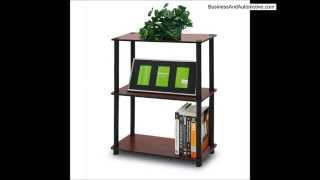 FURINNO 10024DC BK TURN N TUBE 3-TIER COMPACT MULTIPURPOSE SHELF DISPLAY RACK DARK CHERRY BLACK