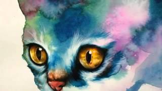 Акварель Красивущий кот