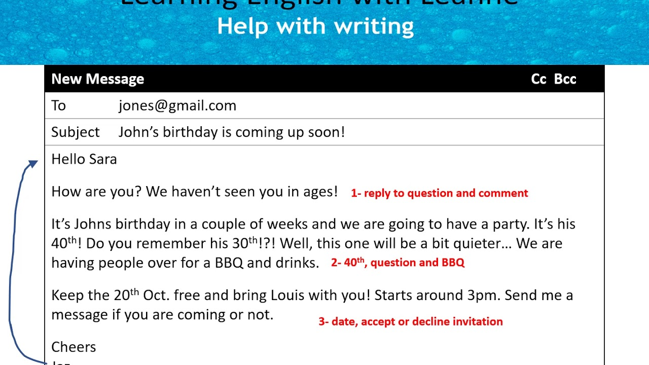 write informal emails in english invitation reply 1 1 a birthday invite