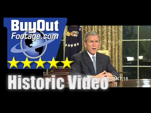Stock Footage President George W. Bush Oval Office 9-11 Attack Address 2001
