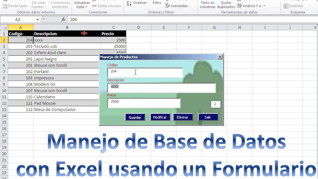 Manejo de base de datos en Excel usando formularios - YouTube